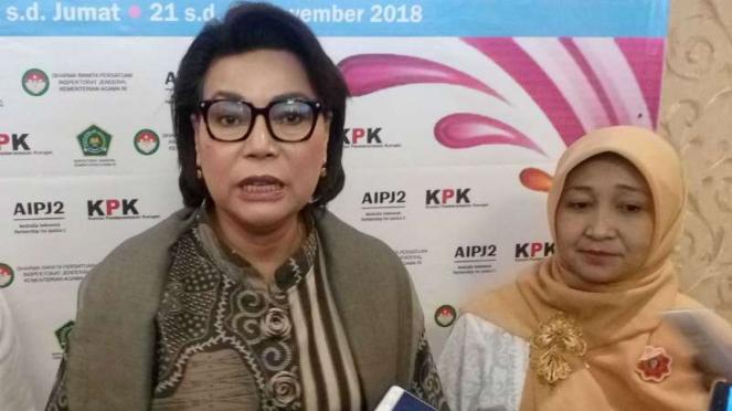 Wakil Ketua KPK Basaria Panjaitan dalam forum pelatihan antikorupsi untuk para birokrat Kementerian Agama di Depok, Jawa Barat, pada Jumat, 23 November 2018.