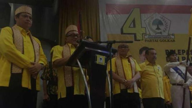 Ketua Dewan Pembina Partai Golkar Aburizal Bakrie hadiri pengukuhan Bappilu