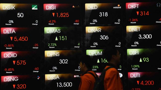 Mahasiswa melintas di depan layar pergerakan saham di Bursa Efek Indonesia, Jakarta