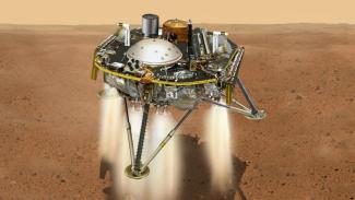 Ilustrasi robot penjelajah InSight mendapat di Planet Mars
