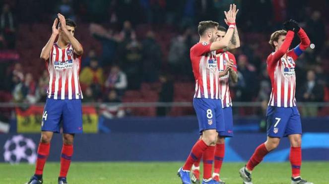 Pemain Atletico Madrid rayakan keberhasilan lolos ke babak 16 besar.