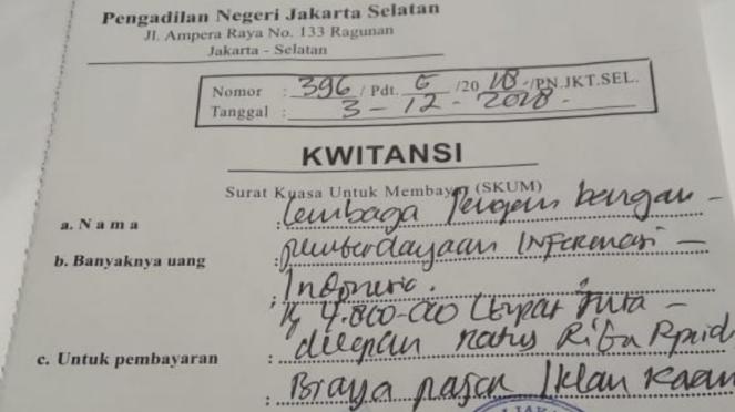Kwitansi pembayaran iklan Dicari Facebook Indonesia