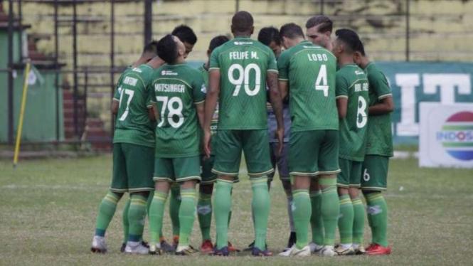 Para pemain PSMS Medan di ajang Liga 1 2018