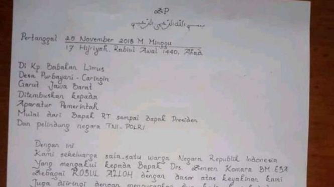 Foto surat pengikut Sensen Komara yang menyatakan bahwa Sensen Komara bin Bakar Miscbah bin Mugni adalah rasul Allah beredar di kalangan terbatas masyarakat Garut, Jawa Barat.