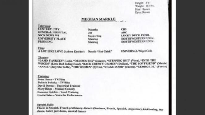CV lama Meghan Markle
