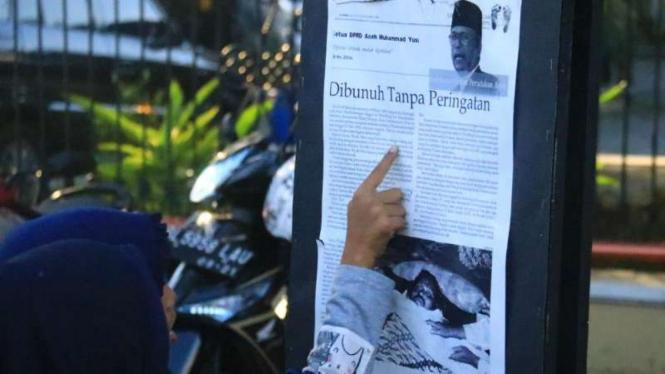 Foto para korban konflik di Aceh dipamerkan saat memperingati hari HAM sedunia.