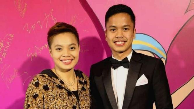 Pebulutangkis Apriyani Rahayu dan Anthony Ginting di acara Gala Dinner BWF 2018