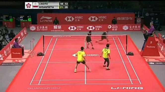 Mohammad Ahsan/Hendra Setiawan vs Liao Min Chun/Su Ching Heng.