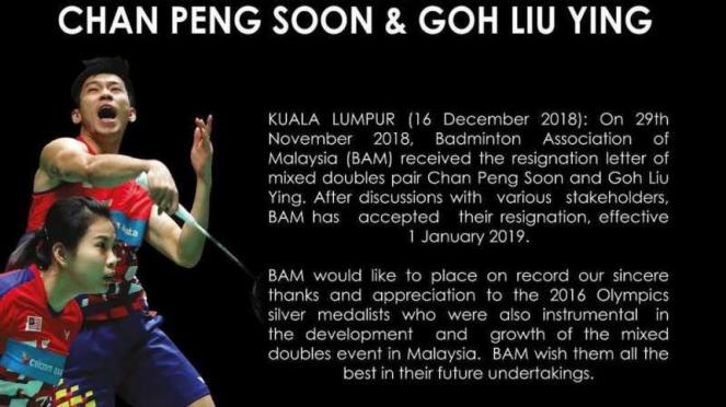 Pernyataan resmi Asosiasi Bulutangkis Malaysia (BAM) soal mundurnya Chan/Goh
