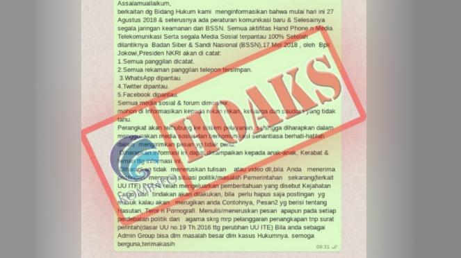 Hoax WhatsApp disadap pemerintah