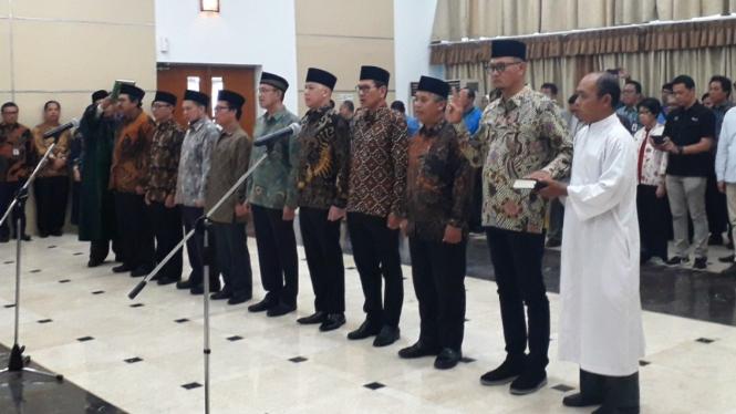 Pelantikan pengurus baru Komite Regulasi Telekomunikasi Indonesia BRTI 2018-2022.