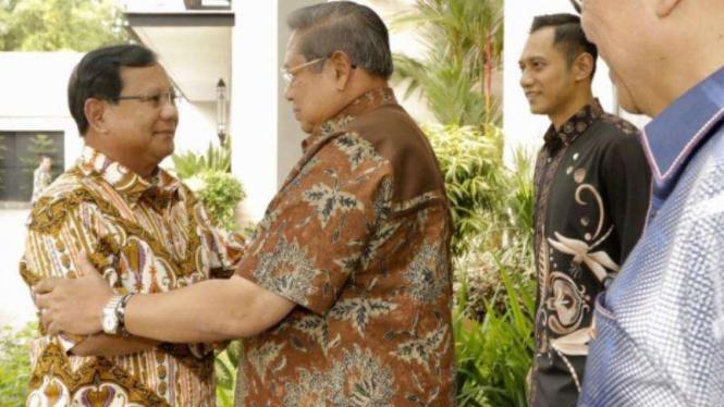 SBY dan Prabowo bertemu di Mega Kuningan, Jakarta, Jumat, 21 Desember 2018.