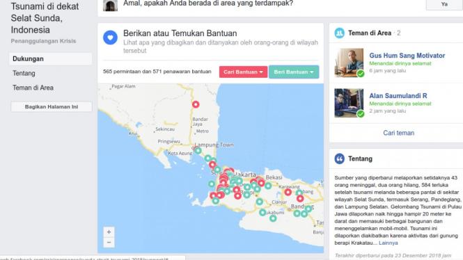 Facebook aktifkan fitur safety check tsunami selat sunda