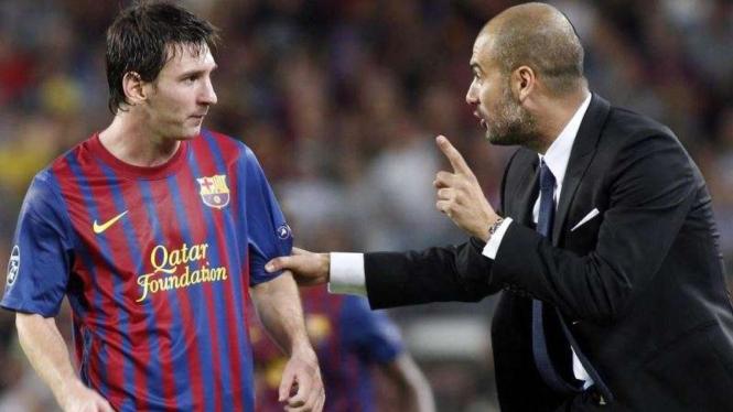 Lionel Messi (kiri) dan Pep Guardiola (kanan)