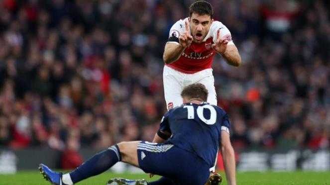 Bek Arsenal, Sokratis Papastathopoulos saat melawan Fulham