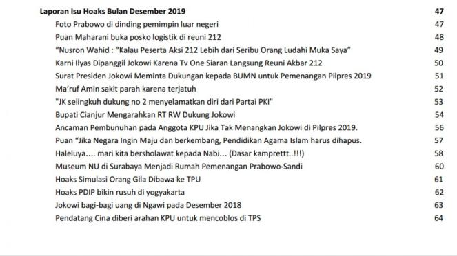 Daftar hoax Pileg dan Pilpres 2019