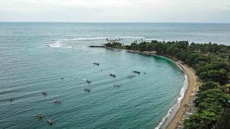 Foto udara kawasan wisata pantai Senggigi di Kecamatan Batulayar, Lombok Barat, NTB