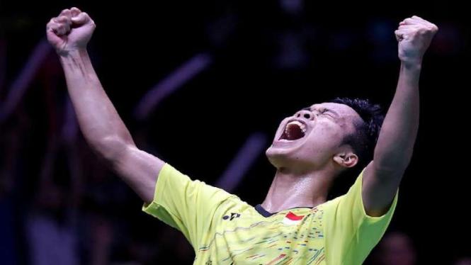 Anthony Sinisuka Ginting selebrasi saat juarai Indonesia Masters 2018.