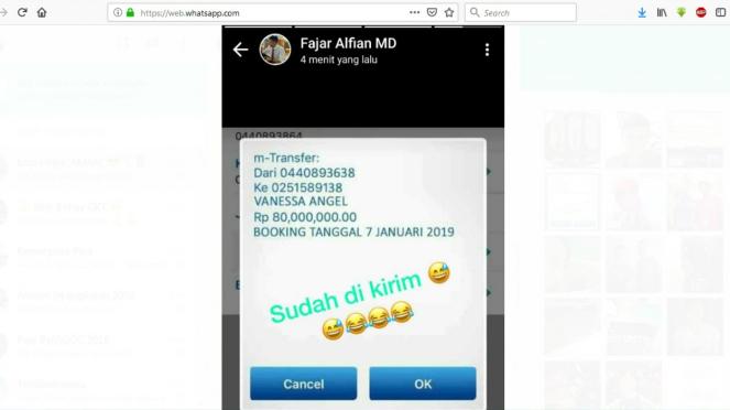Postingan status WhatsApp pebulutangkis Fajar Alfian soal Vanessa Angel