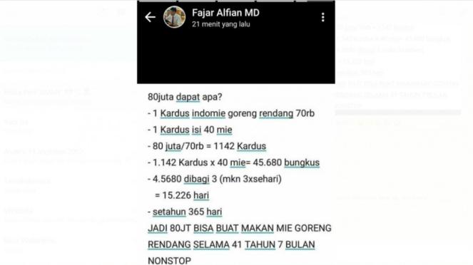Postingan status WhatsApp pebulutangkis Fajar Alfian