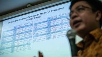 Direktur Eksekutif Indikator Politik Indonesia Burhanuddin Muhtadi memberikan pemaran hasil survei mengenai Media Sosial, Hoaks dan Sikap Partisan Dalam Pilpres 2019 di Jakarta