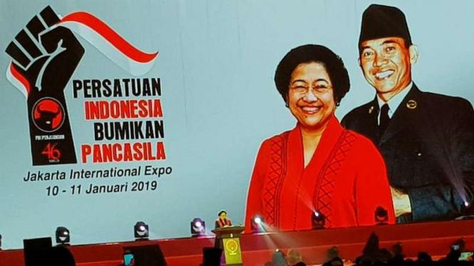 Megawati di Rakornas PDI Perjuangan, Kamis, 10 Januari 2018.
