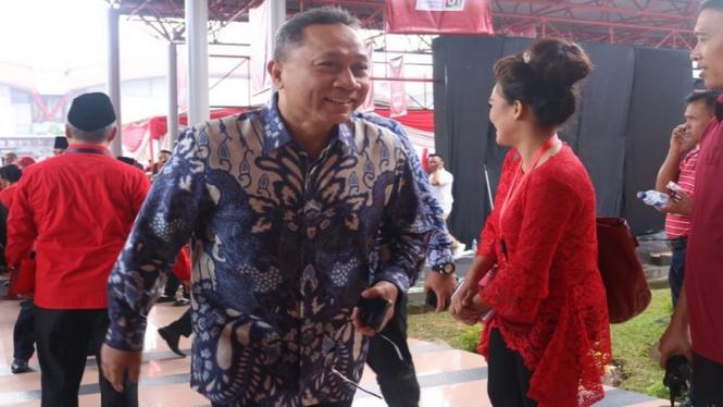 Ketua MPR Zulkifli Hasan saat menghadiri HUT PDIP ke-46 di JI Expo, Kemayoran.
