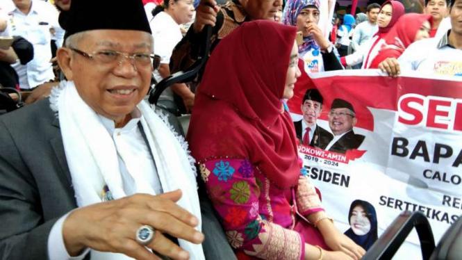 Cawapres Ma'ruf Amin di Palembang