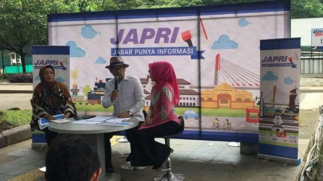 Gubernur Jawa Barat Ridwan Kamil dalam forum diskusi Jabar Punya Informasi di Bandung pada Kamis, 10 Januari 2019.