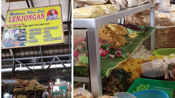 Penjual makanan khas di Pasar Gede, Solo.