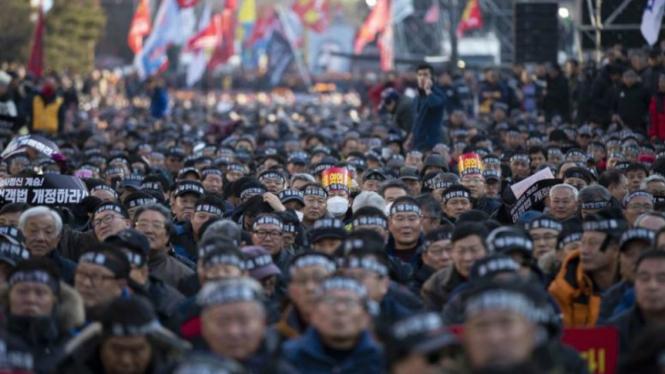 Unjuk rasa pengemudi taksi di Korea Selatan