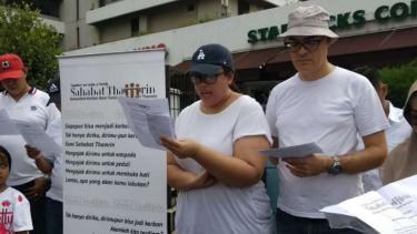 Korban bom Thamrin berkumpul memperingati tiga tahun kejadian tersebut.