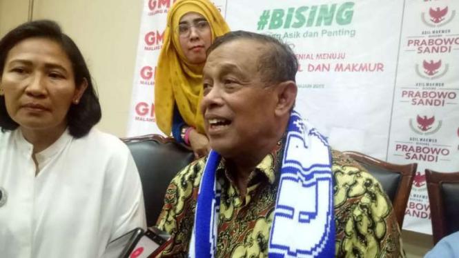 Ketua Badan Pemenangan Nasional Prabowo Subianto-Sandiaga Uno, Djoko Santoso, dalam konferensi pers di Malang, Jawa Timur, Minggu, 13 Januari 2019.