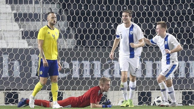 Pemain PSM Makassar, Eero Markkanen saat main untuk Timnas Finlandia