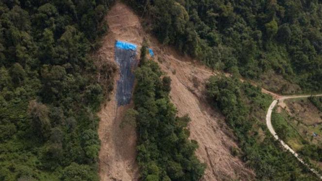 Sebuah permukiman berisiko tinggi terdampak tanah longsor di Jorong Sampu, Nagar
