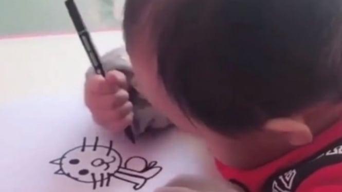 Balita di Korea yang viral karena jago menggambar