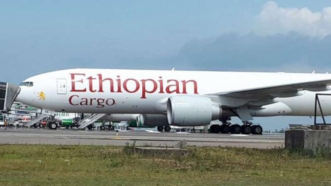 Pesawat Ethiopian Cargo yang dicegat dan dipaksa mendarat oleh jet tempur F-16 TNI saat diparkir di Bandara Hang Nadim, Batam, Kepulauan Riau, pada Kamis, 17 Januari 2019.