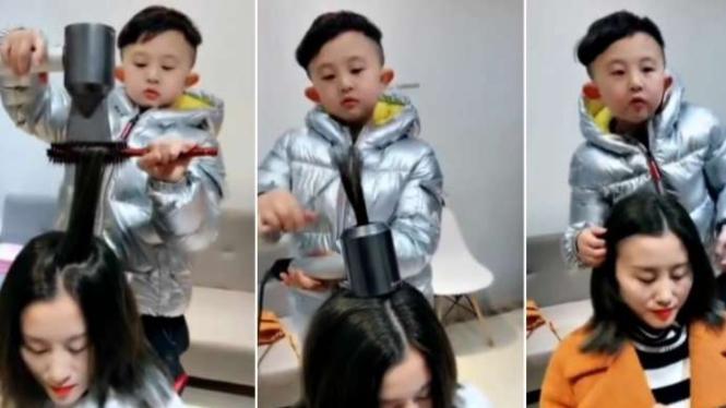 Bocah 6 tahun pandai menata rambut