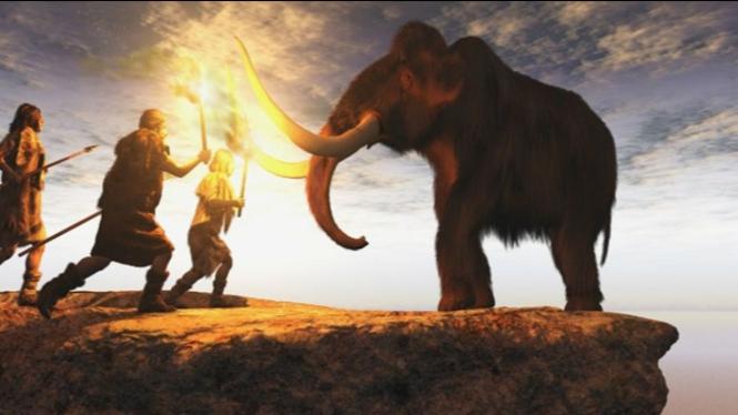 Ilustrasi perburuan mammoth.