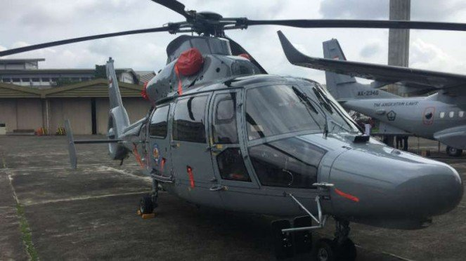 Helikopter antikapal selam milik TNI Angkatan Laut buatan PT Dirgantara Indonesia saat diserahkan kepada Kementerian Pertahanan di Bandung, Jawa Barat, Kamis, 24 Januari 2019.