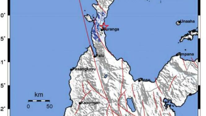 Wilayah Kabupaten Parigi Moutong, Sulawesi Tengah, dilaporkan diguncang gempa pada dini hari pukul 00.27 WIB, Jumat, 25 Januari 2019.