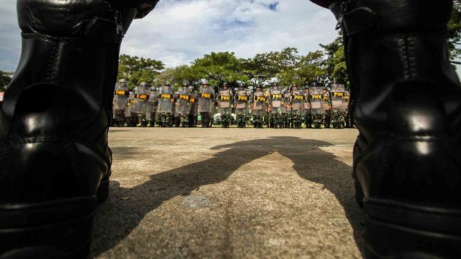 Ilustrasi Prajurit TNI Jajaran Korem 011 Lila Wangsa, Kodam Iskandar Muda (IM) mengikuti apel gelar pasukan Penanggulangan Huru Hara (PHH) pengamanan Pemilu di lapangan Jenderal Sudirman, Lhokseumawe, Aceh