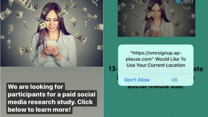 Iklan uTest memberi iming-iming uang untuk menjaring peserta penelitian Facebook