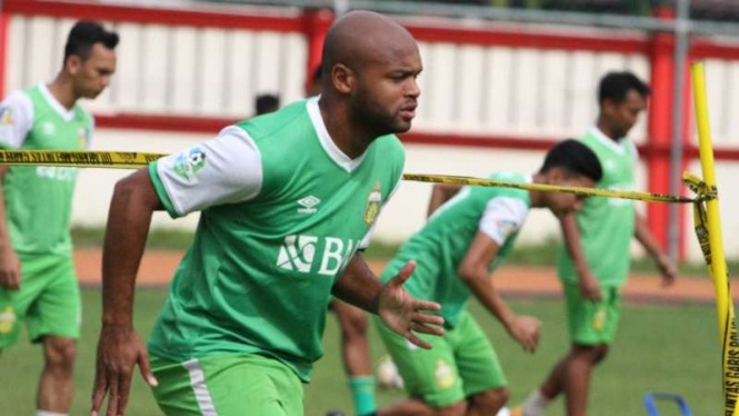 Pemain baru Bhayangkara FC, Anderson Salles, perdana mengikuti sesi latihan