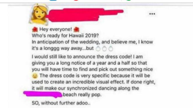 Detail dress code pernikahan yang dibocorkan ke media sosial