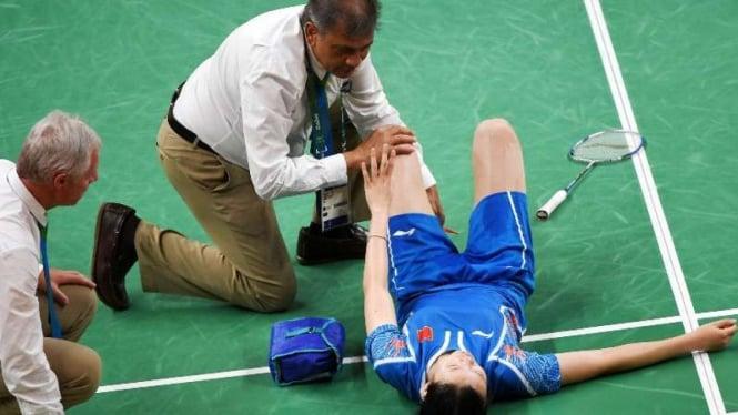 Pebulutangkis China, Li Xuerui terkapar cedera saat Olimpiade Rio 2016