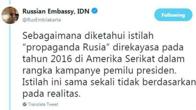 Cuitan Kedubes Rusia di Jakarta tentang propaganda Rusia