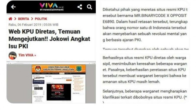 Cuitan hoax yang mencatut logo VIVA