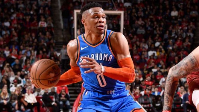 Pemain Oklahoma City Thunder, Russell Westbrook.