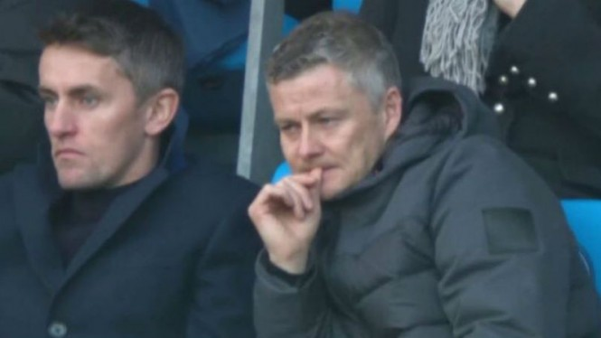 Manajer Manchester United, Ole Gunnar Solskjaer, di Etihad Stadium